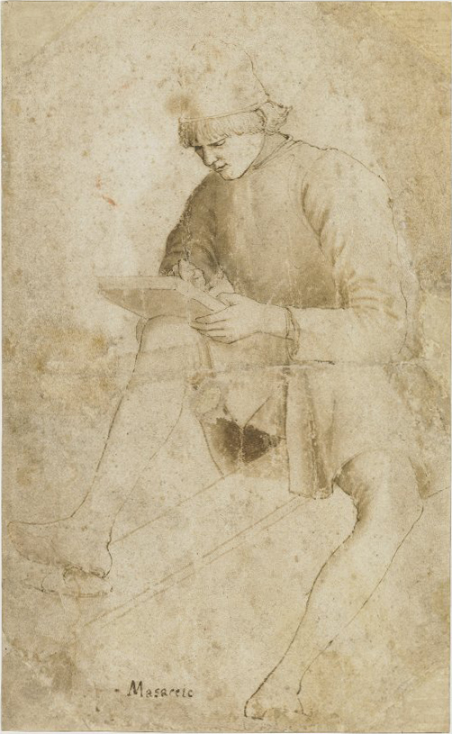 Workshop of Maso Finiguerra, A youth drawing; whole-length, resting a tablet on his raised right knee Pen and brown ink, with brown wash. © The Trustees of the British Museum, 1895,0915.440.