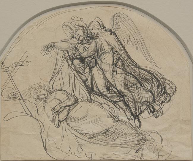 Heinrich Schwemminger (Vienna 1803 - Vienna 1884). Saint Rosalia of Palermo in her Cave. Pen and black ink over graphite on cream wove paper. 191 x 233 mm, 7 1/2 x 9 3/16 in.