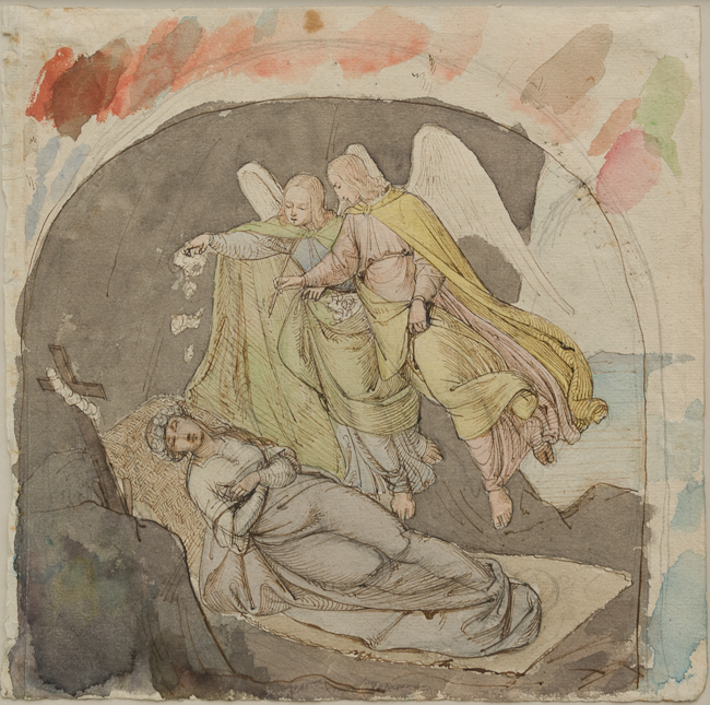 Heinrich Schwemminger (Vienna 1803-Vienna 1884). St. Rosalia of Palermo Crowned by Angels. Graphite, pen and brown ink, and watercolor on cream laid paper. 251 x 248 mm, 9 7/8 x 9 3/4.
