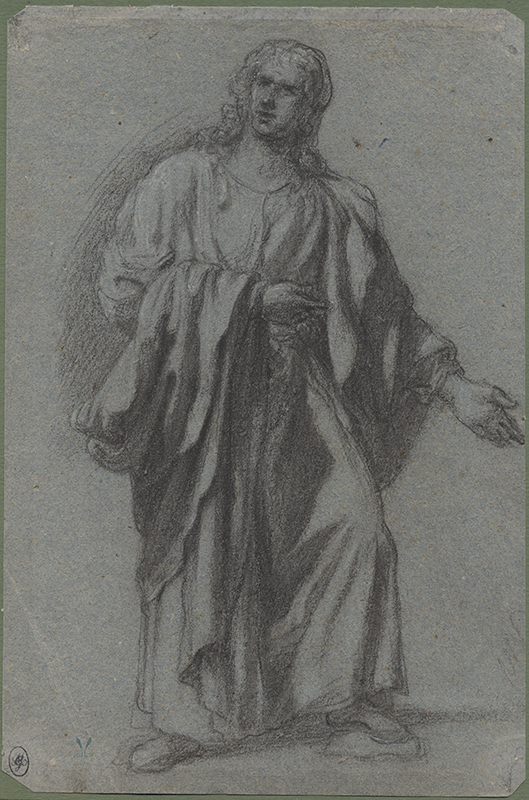 Bernardino Licinio (Venice, c. 1490 - Venice, after 1549) Standing Draped Male Figure, black chalk heightened with white on blue paper, 266 x 173 mm, 10 1/2 x 7 15/16 in.