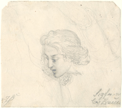 Heinrich Schwemminger, Recto: Study of Siegfried's Head, from the Nibelungenlied, graphite on cream wove paper, 105 x 118 mm, 4 1/8 x 4 11/16 in.