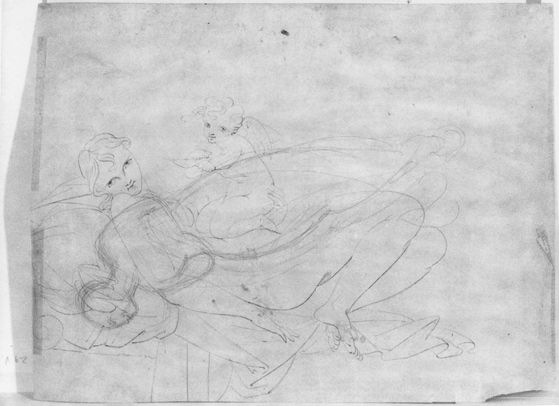 Heinrich Schwemminger, Verso: Venus and Cupid drawn over a Reclining Woman, 234 x 317 mm, 9 3/8 x 12 7/16 in. erso: Venus and Cupid over a Reclining Woman,