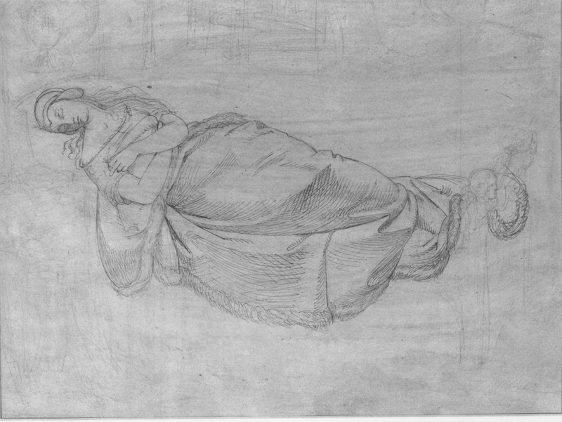 Heinrich Schwemminger, Recto: Reclining Woman, a study for Kriemhild's Dream of the Falcon, from the Nibelungenlied, pen and black ink over graphite on cream laid paper, 234 x 317 mm, 9 3/8 x 12 7/16 in.