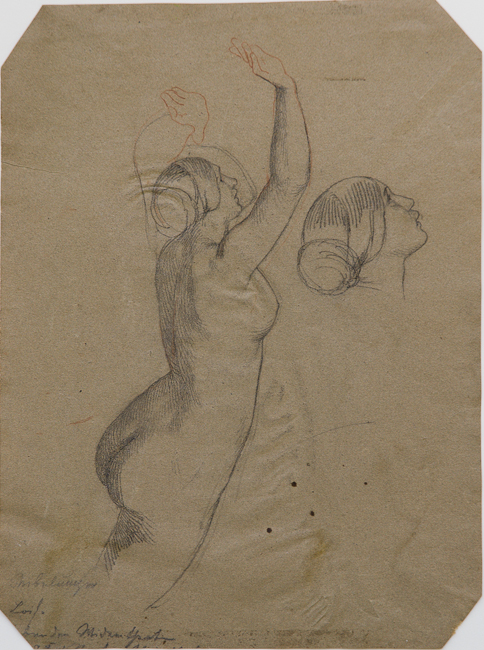 Heinrich Schwemminger, Recto: Study of a Nude Woman with Raised Arms, a Rhinemaiden, Graphite, black crayon, and red chalk on buff wove paper, 280 x 209 mm, 11 x 8 3/16 in.