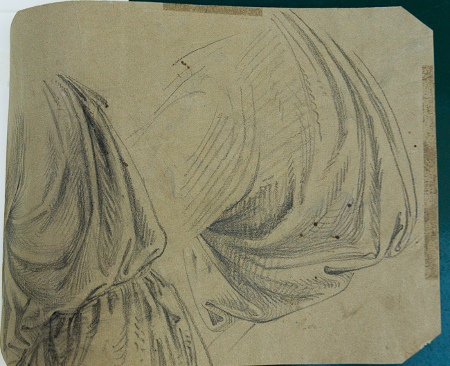 Heinrich Schwemminger, Verso: Drapery Studies, black crayon, 280 x 209 mm, 11 x 8 3/16 in.