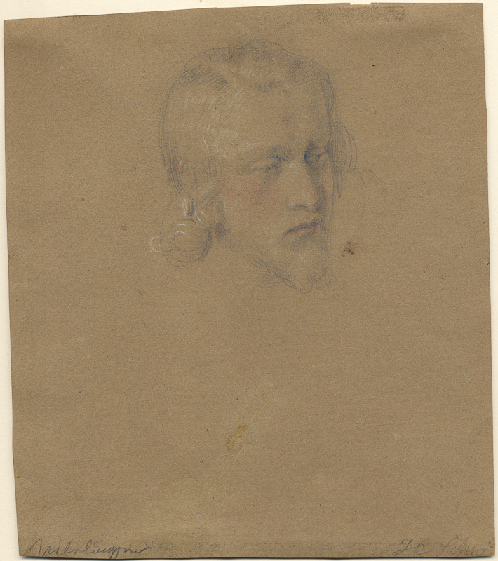 Heinrich Schwemminger, Study of a Bearded Man, Gunther, Graphite, black crayon, and red and white chalk on brown wove paper, 195 x 169 mm, 7 5/8 x 6 11/16 in.