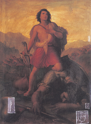 Heinrich Schwemminger, David Giving Thanks for his Victory over Goliath, oil on canvas, formerly Pennsylvania Academy of Fine Arts