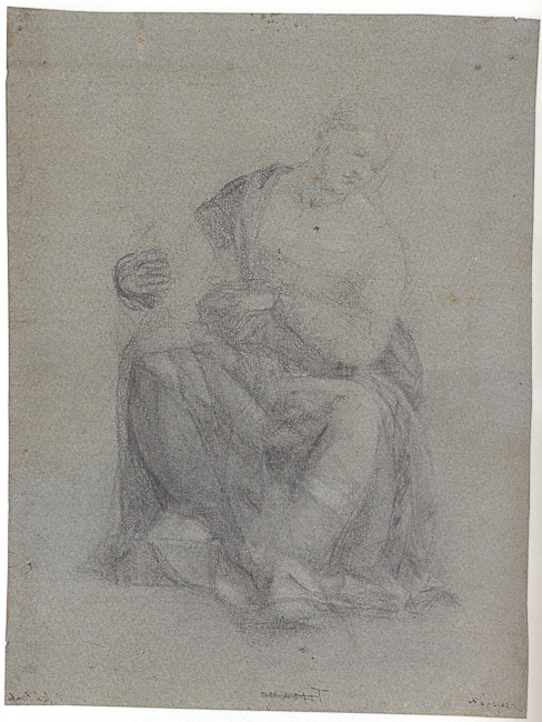 Bernardino Licinio (Venice, c. 1490 – Venice, after 1549). Seated Female Figure. black chalk with touches of white chalk on greenish-blue paper. 278 x 212 mm. Berlin Kupferstichkabinett Inv. KdZ 17238
