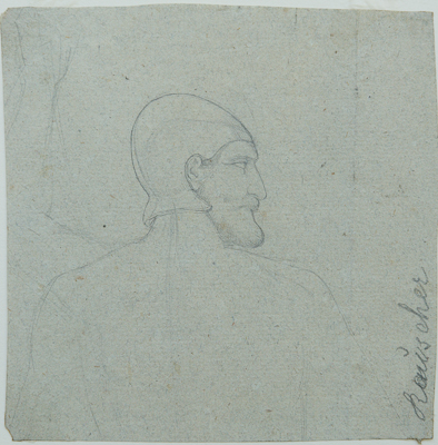 "Heinrich Schwemminger (Vienna 1803 - Vienna 1884).Head of a Bearded Man with Helmet: a study for a Hebrew Soldier in ""David and Goliath"". Graphite on blue laid paper . 141 x 140 mm, 5 9/16 x 5 1/2 in."