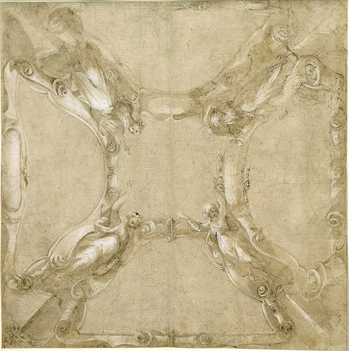 Isidoro Bianchi (Campione d'Italia, 1581 - 1662), Design for a Ceiling Decoration, Pen and brown ink, brush and brown wash heightened with white on tan paper, 298 x 298 mm., 11 3/4 x 11 3/4 in.