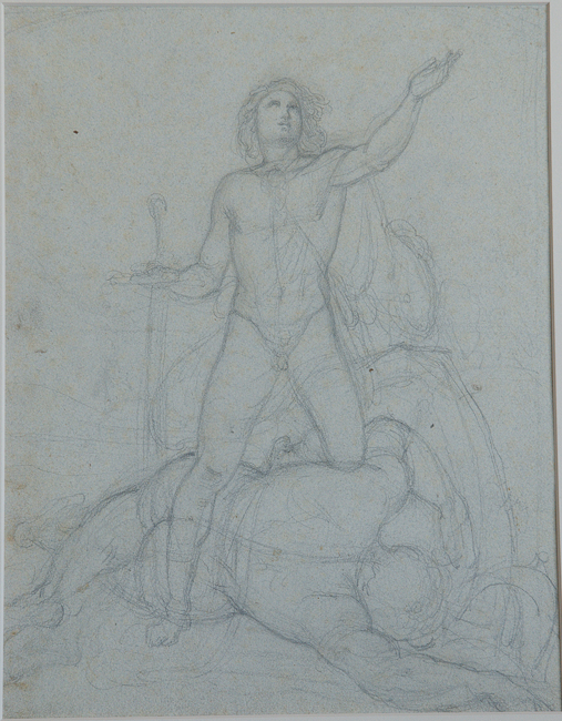 Ferdinand Schubert (Vienna 1824 - Vienna 1853). Study for David Giving Thanks for his Victory over Goliath . Graphite on blue watercolor paper . 325 x 250 mm, 12 3/4 x 9 13/16 in.