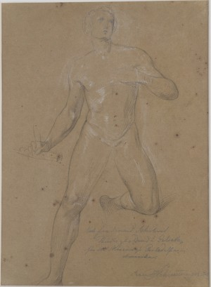 Heinrich Schwemminger. Study of David Giving Thanks for his Victory over Goliath. Black chalk heightened with white chalk on brown wove paper, Rome, ca. 1842. 285 x 214 mm, 11 1/4 x 8 7/16 in.