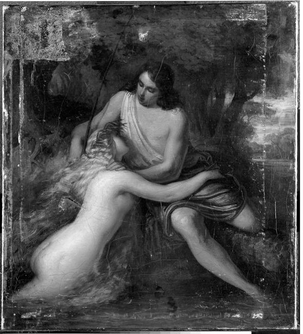 """Ferdinand Schubert (Vienna 1824 - Vienna 1853). The Fisherman and the Water Nymph. (after Goethe's """"Der Fischer""""). oil on canvas. 58 x 52 cm, 23 x 20.5 in. Kunsthaus Zürich."""
