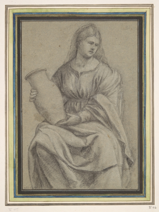 Bernardino Licinio (Venice, c. 1490 - Venice, after 1549). Woman holding a Vase, ca. 1530. Black chalk heightened with white on blue-gray paper. 214 x 147 mm; 8 7/16 x 5 13/16 in.