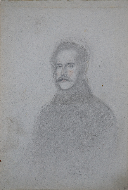 Heinrich Schwemminger (Vienna 1803 - 1884). Portrait of a Man. Charcoal, black and red chalk on blue-grey wove paper. 269 x 181 mm, 10 5/8 x 7 1/8 in.