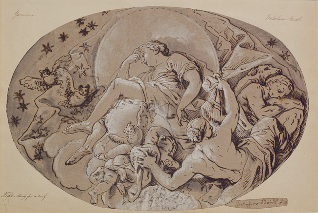 Melchior Michael Steidl (Innsbruck 1657-Munich 1727). Study for a Ceiling Decoration: Allegory of Night. Pen and brown ink, brush and gray wash over black chalk on buff laid paper. 218 x 321 mm., 8 9/16 x 12 5/8 in.