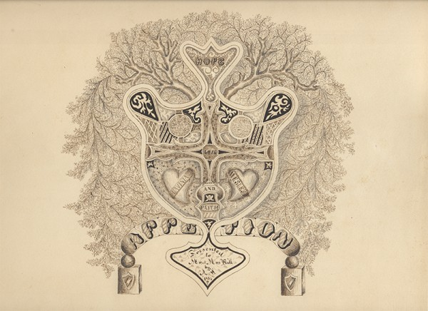 American (Rhode Island), 19th Century, Calligraphic Drawing Celebrating a Marriage, 1854